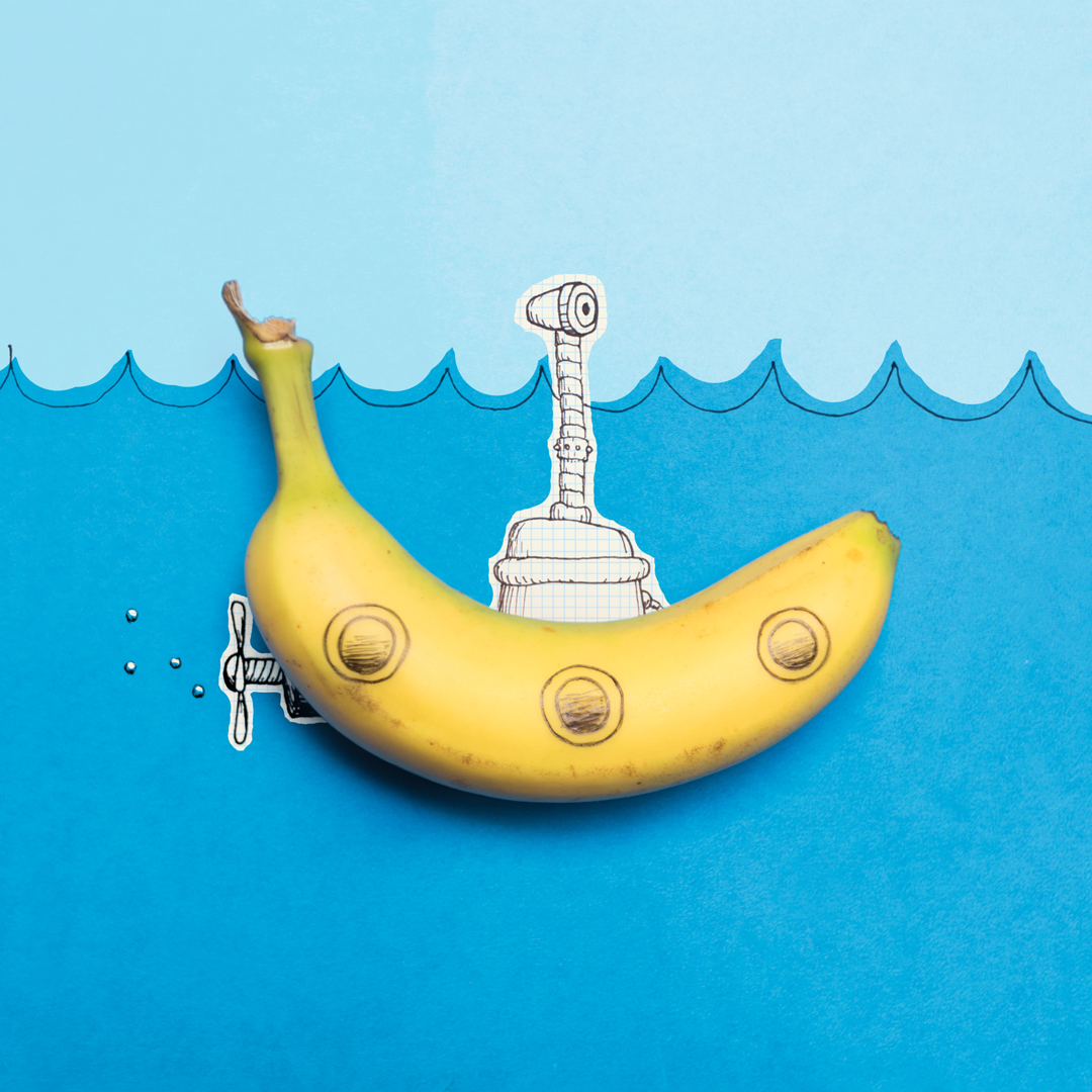 photo of a yellow submarine made with a banana, ink and paper by Kelly Crull