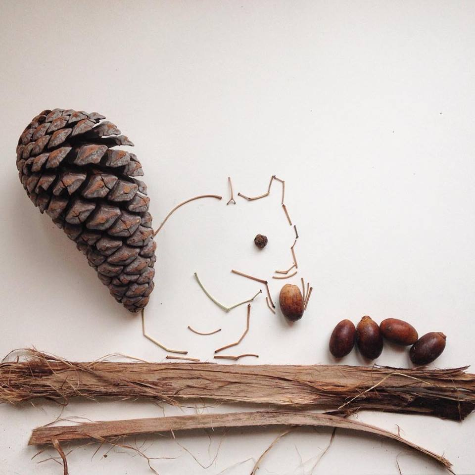 photo of a squirrel made out of a pine cone, bark, nuts and twigs by Kelly Crull